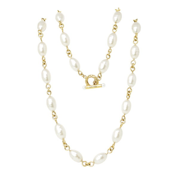 Chanel Classic Vintage Pearl Yellow Gold Plated Long Necklace with Toggle