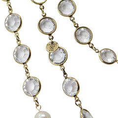 Chanel Classic Vintage Sautoir Clear Crystal and Pearl Long Necklace