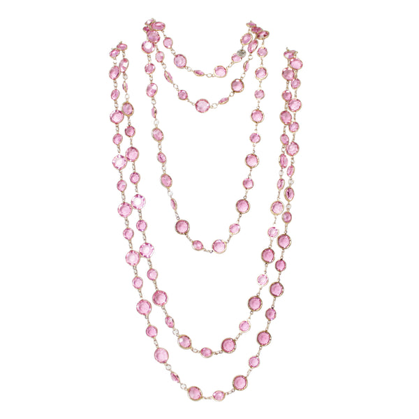 Chanel Classic Vintage Pink Sautoir Crystal Long Strand Necklace Yellow Gold Plated