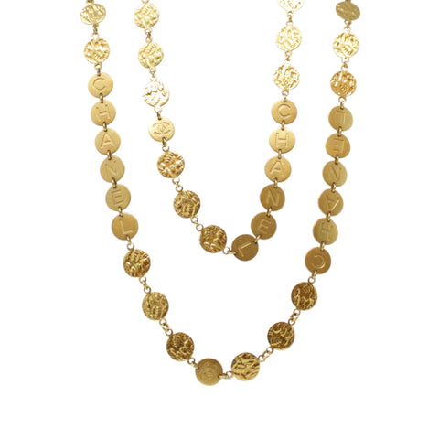 Chanel Long Logo Yellow Gold Plated Fashion Stylish Coin Necklace