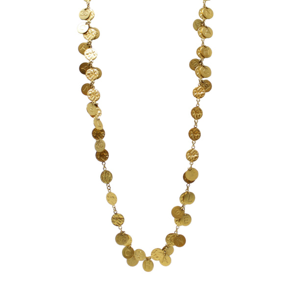 Chanel Vintage Yellow Gold Plated Double Coin Confetti Long Necklace