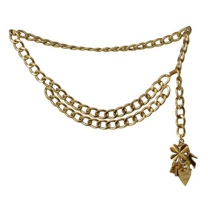 Chanel Stylish Vintage Charm Chain Belt Yellow Gold Plated