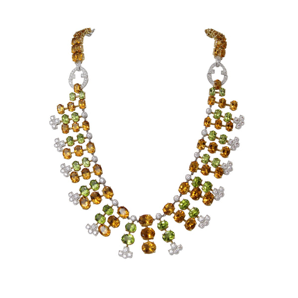 Citrus Surprise Necklace - 18K White Gold Diamond, Citrine and Peridot Bib Necklace