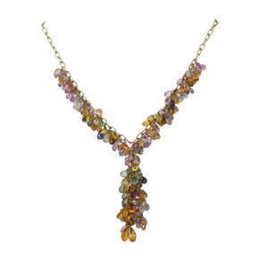 Angel Of The Sea Necklace - Multicolor Sapphire Briolette 18k Yellow Gold Lariat Necklace
