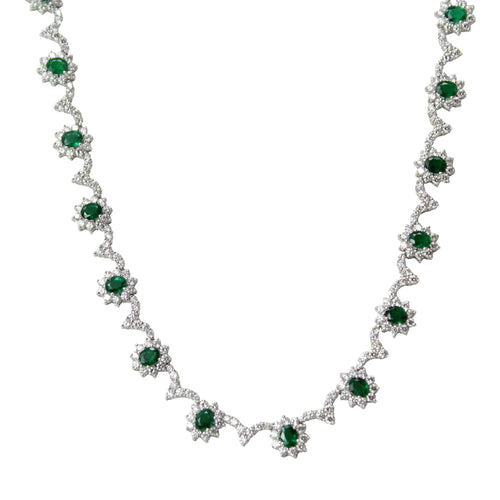 Shimmering Emerald Collar Necklace - 18K White Gold Diamond and Emerald Flower Necklace