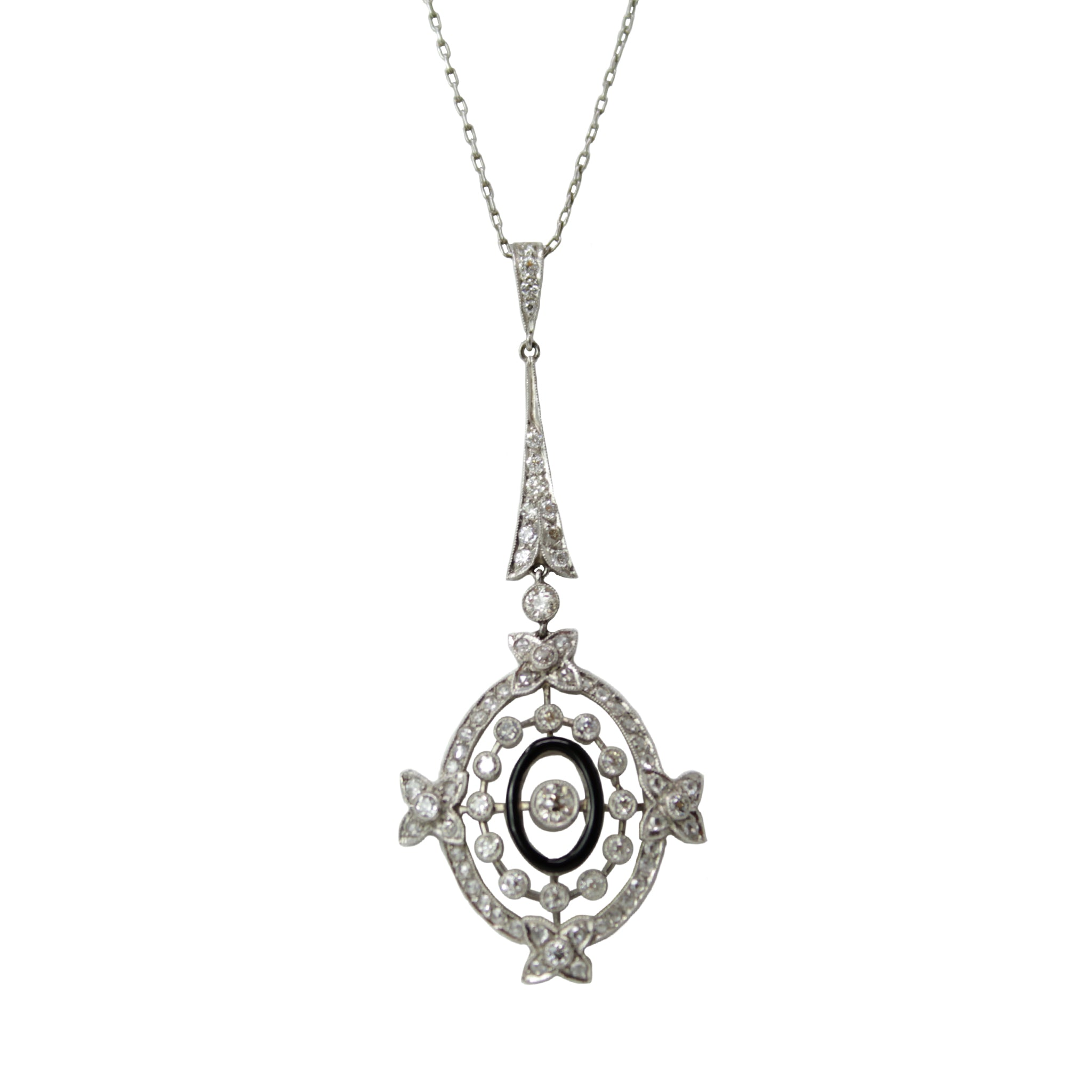 Bewitching Beauty Lavalier Necklace - Victorian Antique Platinum Diamond and Onyx Long Necklace