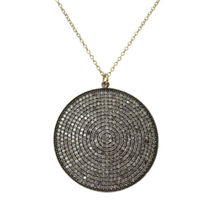 Diamond Shield Necklace - 14K Yellow Gold Diamond Circle Pendant Necklace
