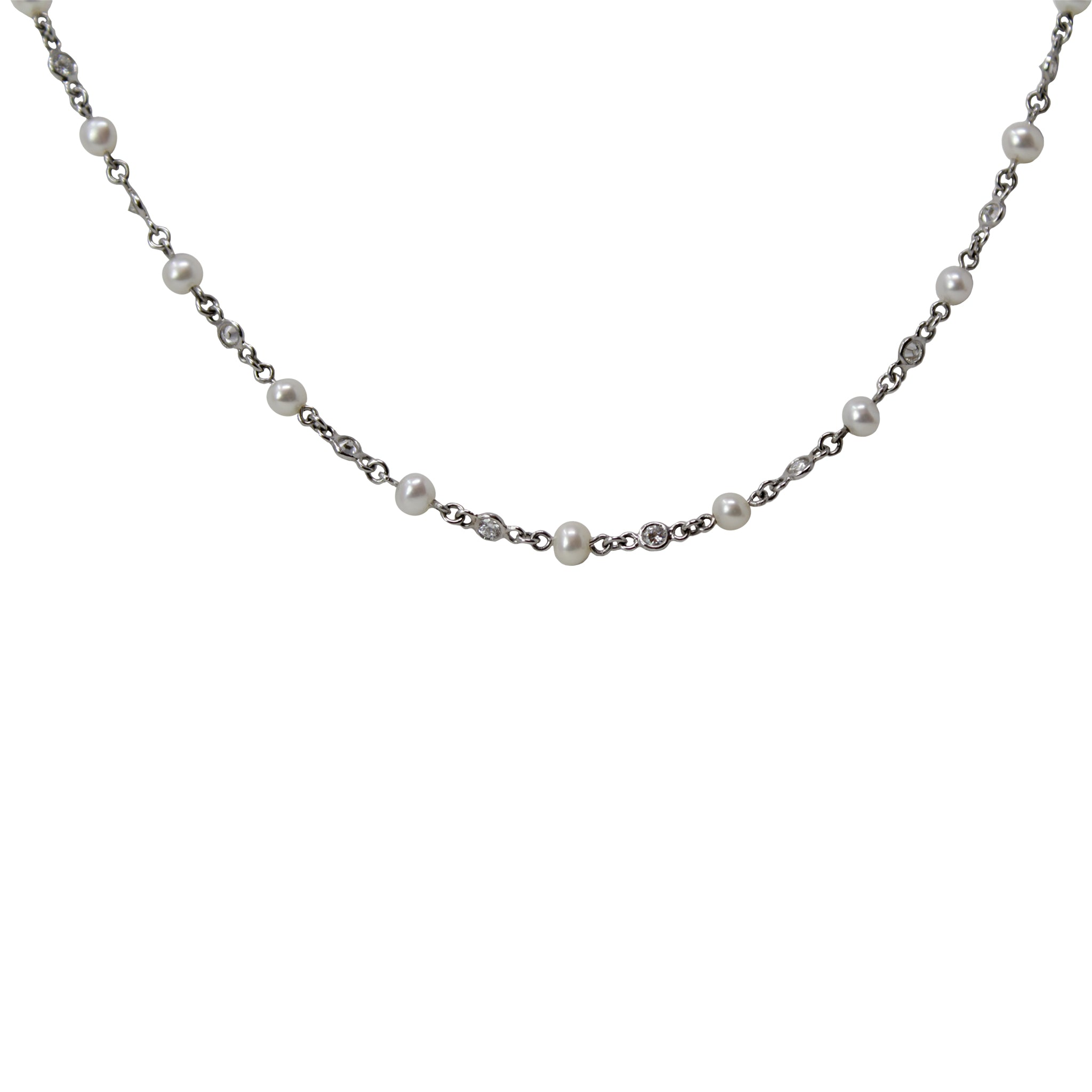 Diamond Strand - Platinum Chain Necklace With Small Diamonds And Cultured Pearls
