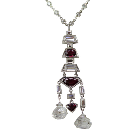 Swinging Daisy  Necklace - 14K White Gold Art Deco Diamond & Ruby Long Necklace