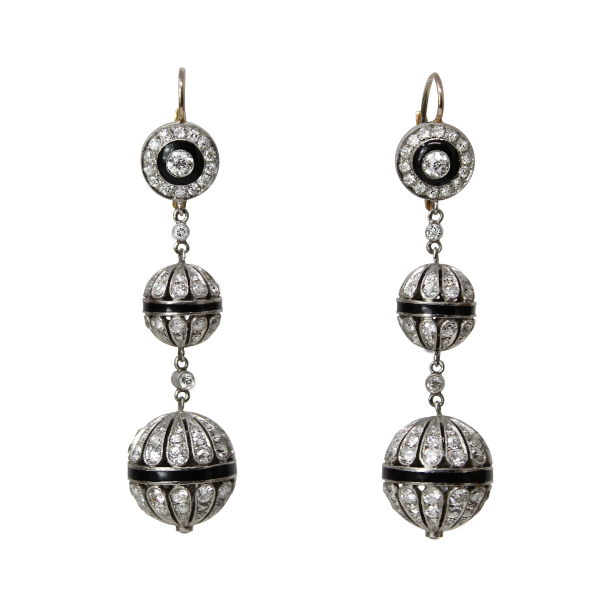 Life Of The Ball - Art Deco Antique Onyx and Diamond Swinging Long Earrings 14k White Gold