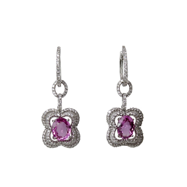 Pretty in Pink Drop Earrings - 18K White Gold Pink Sapphire and Diamond Flower Dangle Earrings