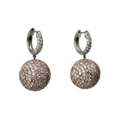 Pink Disco Ball Earrings - 18K Rose and White Gold Colored Diamond Pave Ball Hoop Earrings
