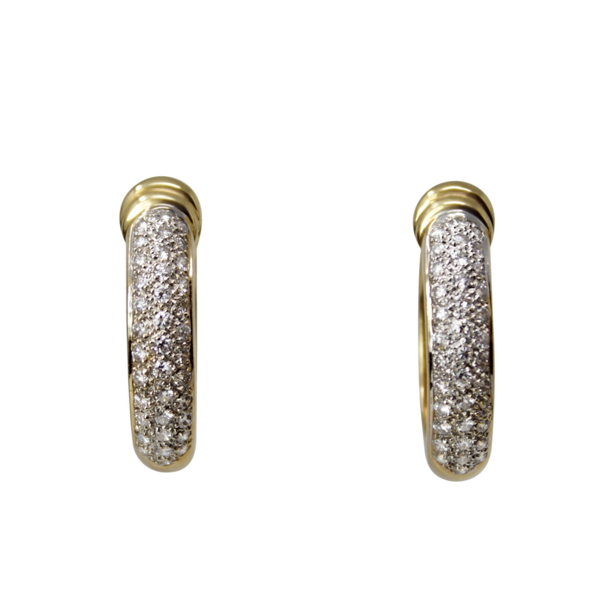 Grace Kelly Diamond Hoop Earrings - 18K Yellow Gold Diamond Small Hoop Earrings