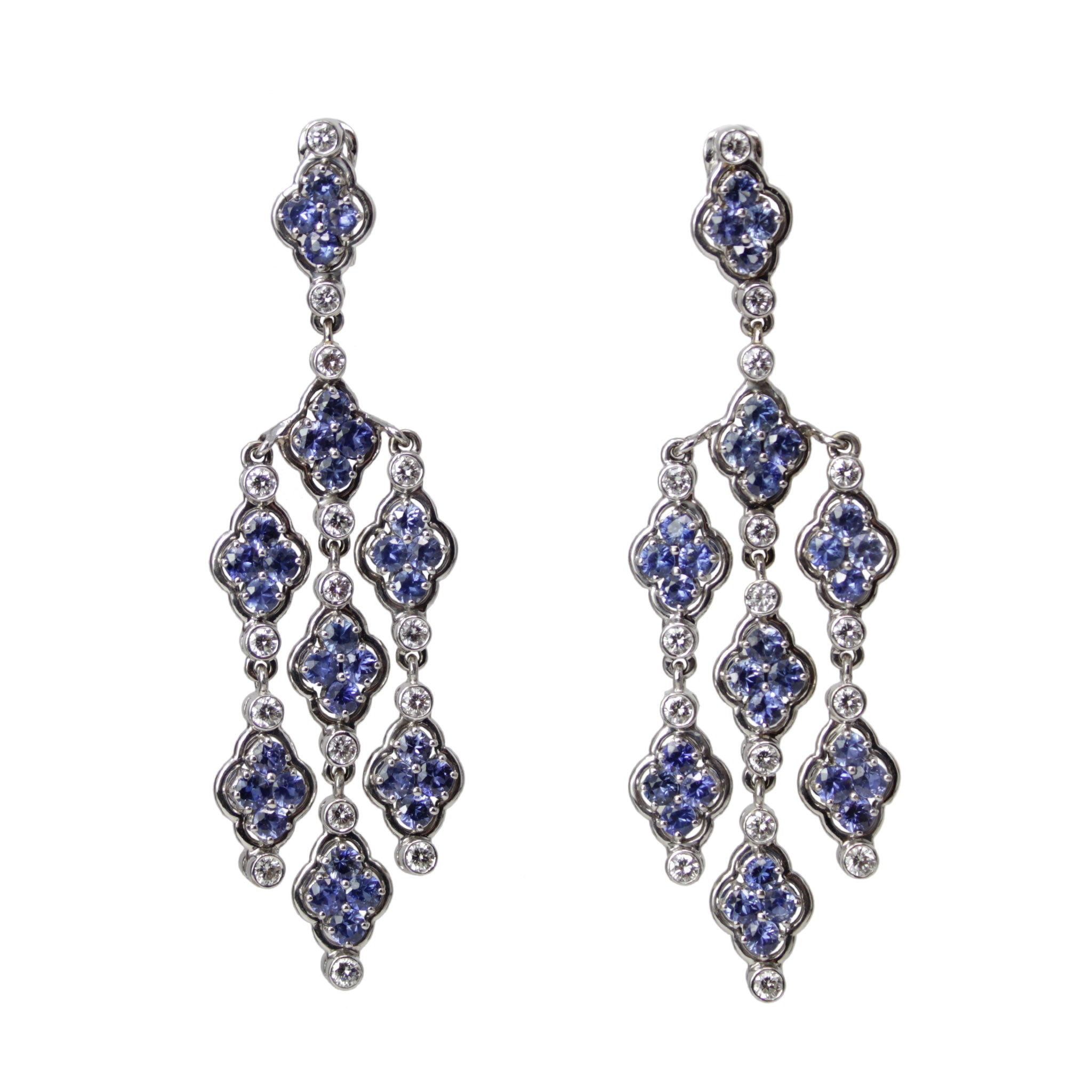 Wisteria Earrings - Blue Sapphire and Diamond Long Chandelier Earrings 18k White Gold Double Sided Clip or Pierced