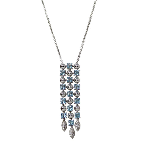 Bvlgari Lucea Aquamarine Bib Necklace - 18K White Gold Aquamarine and Diamond Necklace Bulgari