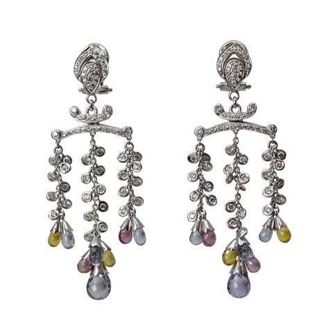 Diamond Reflections Chandelier Earrings - 18K White Gold Diamond and Color Sapphire Dangling Earrings