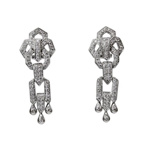 Breathe Taking Diamond Drop Earrings - Antique Platinum Diamond Long Dangle Flower Chandelier Earrings