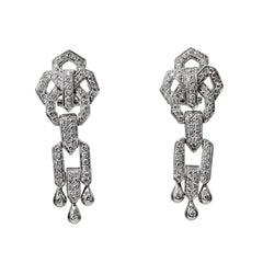 Dallas Styled Earrings - 18k White Gold and Diamond Long Chunky Dangle Earrings