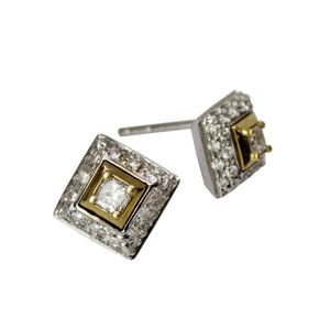 Perfect Makes Perfect Earrings - 18k White and Yellow Gold Square Diamond Stud Earrings