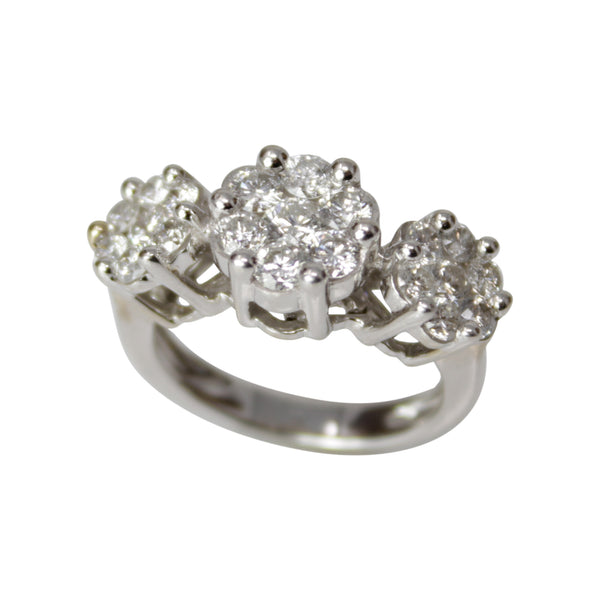 Past, Present and Future Blooms - 14k White Gold Diamond Flower Ring