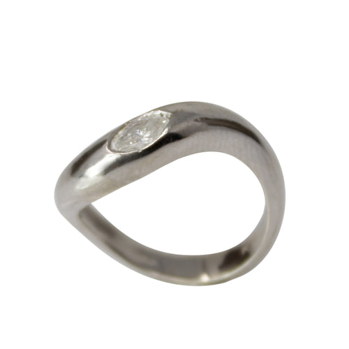 Diamond Bean Band - 14k White Gold and Marquise Diamond Ring