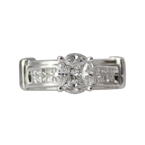 Thumbelina's Diamond Engagement - 14k White Gold Diamond Ring