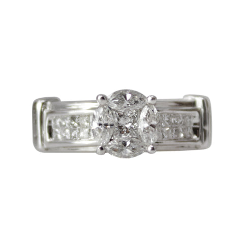 Snowflake Ring - 14k White Gold Diamond Ring with 3 Diamond Snowflake Clusters