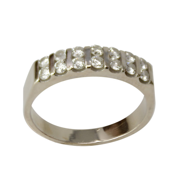 Miss Right Diamond Band - 14k White Gold Rows of Diamonds Ring