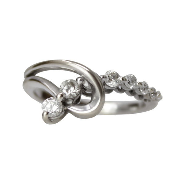 Love Entwined Band - 14k White Gold Diamond Knot Ring
