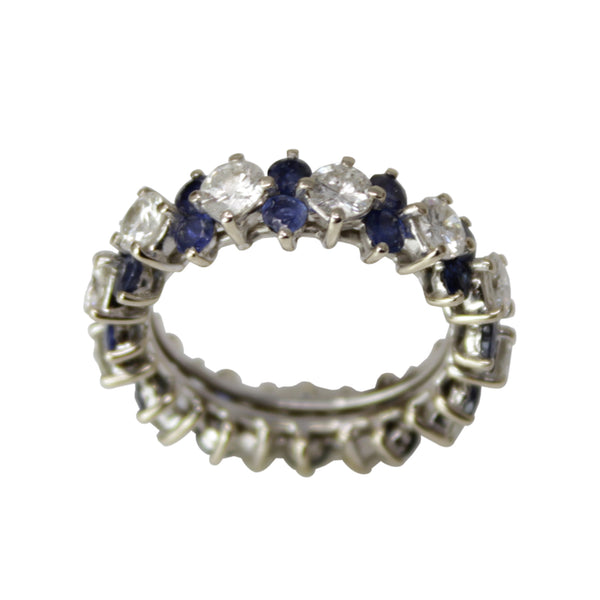 Tigress Eternity Band - 14k White Gold Diamond and Sapphire Ring Band