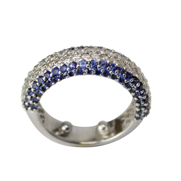 Band of Manifestation - 18k White Gold Sapphire and Diamond Ring Chunky Pave Band