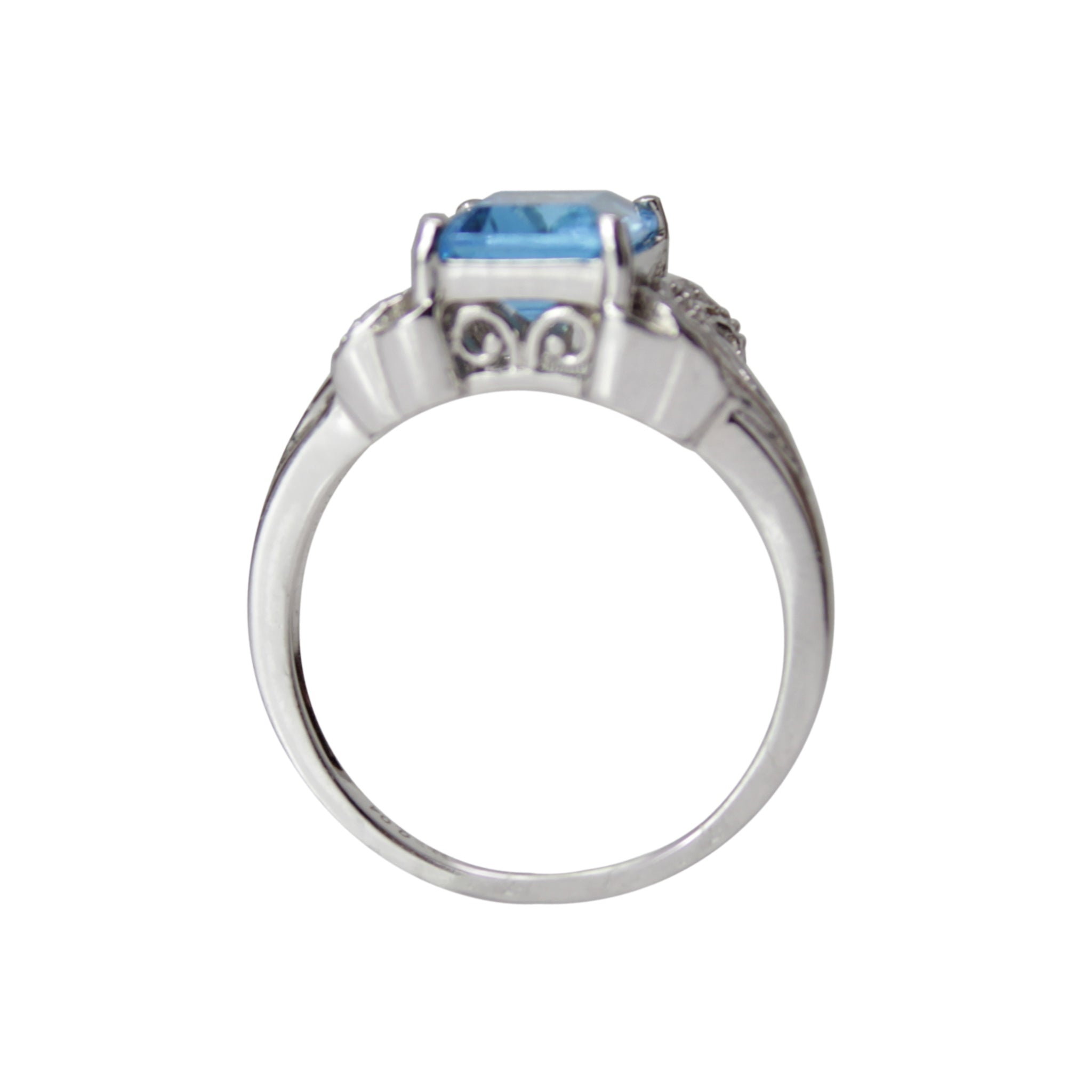Cinderella Blue Topaz Ring - 10k White Gold, Blue Topaz and Diamond Solitaire Ring