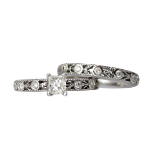 From Now To Eternity Ring Set - 14k White Gold 1.25ct Diamond Engagement Ring and Band Set