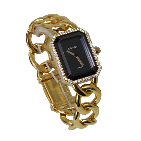 Chanel Large Premiere Ladies Chain Watch 18k Yellow Gold And Bracelet With Diamonds