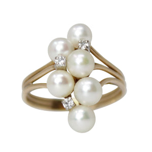 Pure Delight Ring - 14k Yellow Gold Natural Pearl Ring with Diamonds