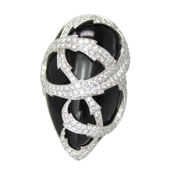 Diamond Web Onyx Ring - 18k White Gold Diamond and Onyx Ring