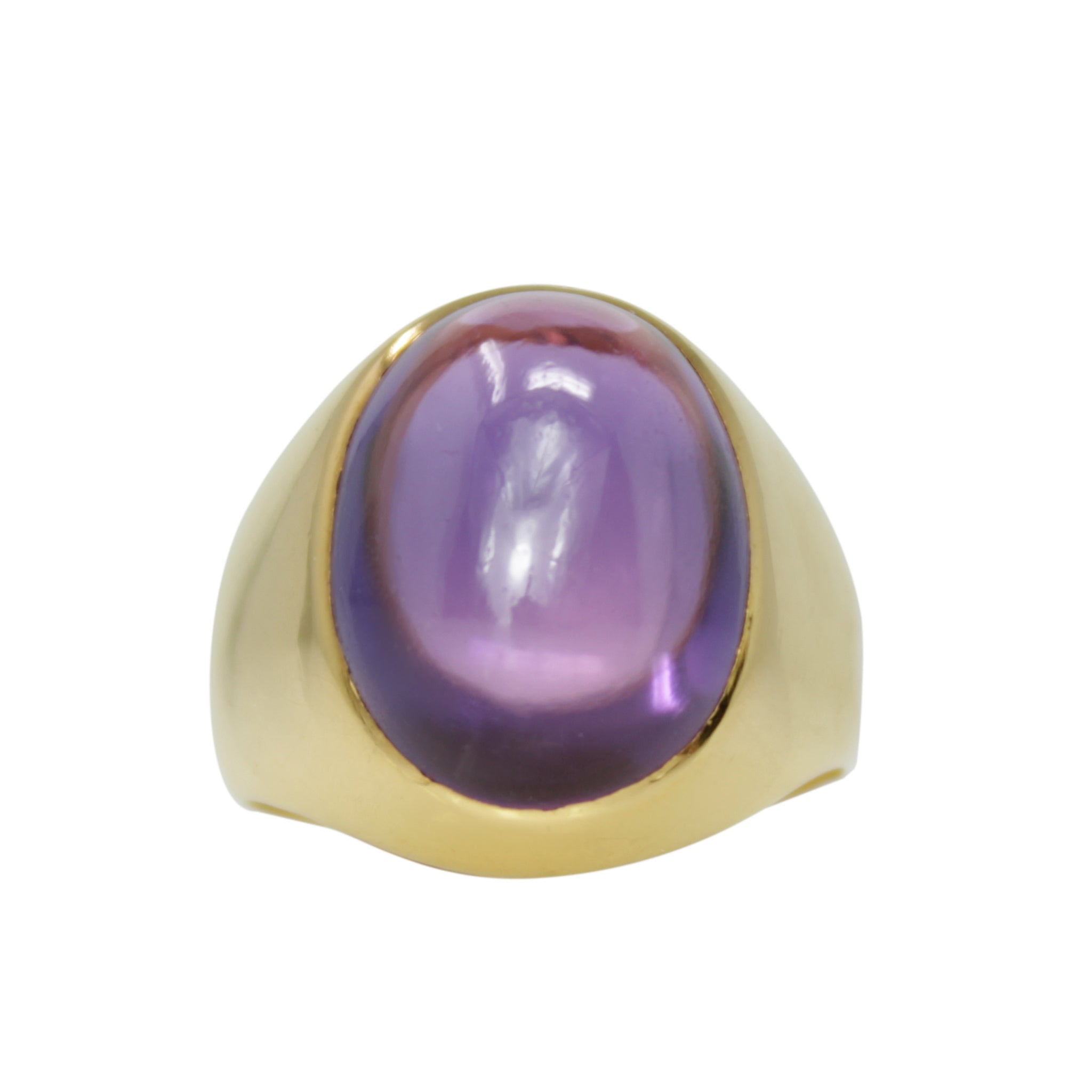 Connect and Protect Ring - 18k Yellow Gold Cabochon Amethyst Ring