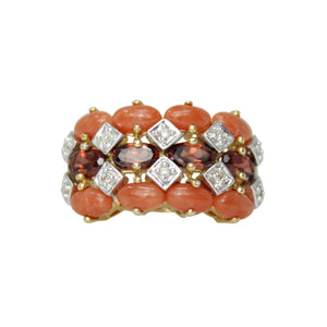 Braided Coral Bun Ring - 18k Yellow Gold Vintage Coral, Diamond and Garnet Vintage Ring