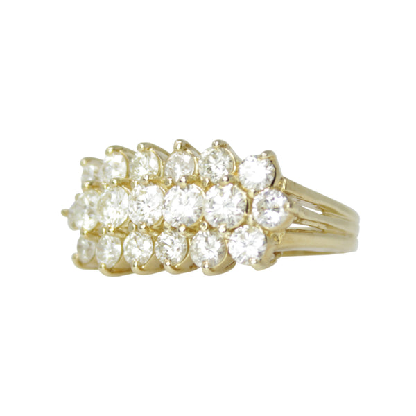 Bling Ring - 14k Yellow Gold and 3 Row Diamond Right Hand Ring