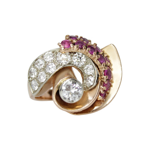 Ruby and Diamond Sparkler Ring - 14k Yellow Gold Art Deco Swirl Diamond and Ruby Statement Ring