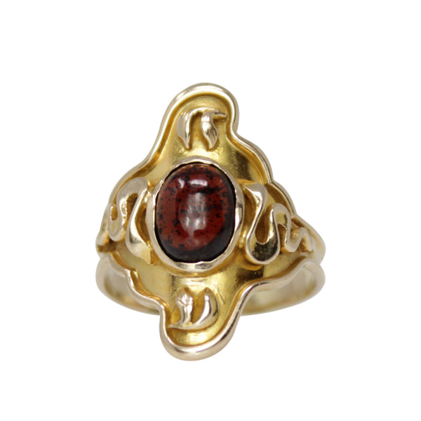 Revitalizing Shield of Empowerment - 14k Yellow Gold Egyptian Garnet Ring