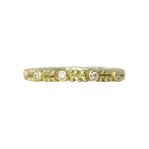 Entwined Band - 18k Yellow Gold Vine Ring with Diamonds