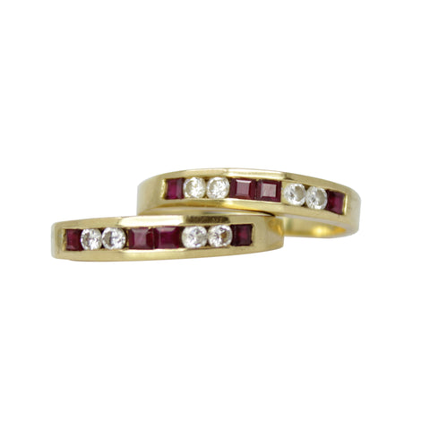 Little Red Ruby - 18k White Gold Ruby Band Ring