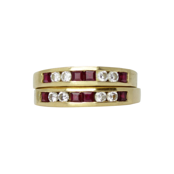 Stack Success - Pair of 18k Yellow Gold Diamond and Ruby Rings Bands