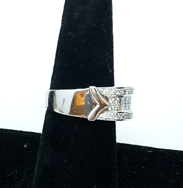 Ingenious Design Band - Men's Large Chunky Diamond Ring 14k White Gold