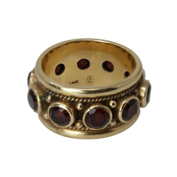Royal Ruby Crown Band - 14k Yellow Gold Vintage Ruby Ring