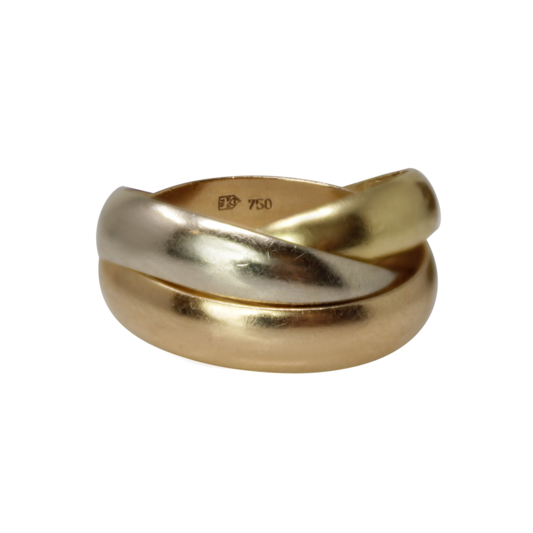 Eternity Entwined - 18k Tri Color White, Yellow and Rose Gold Trinity Rings Size 4.25