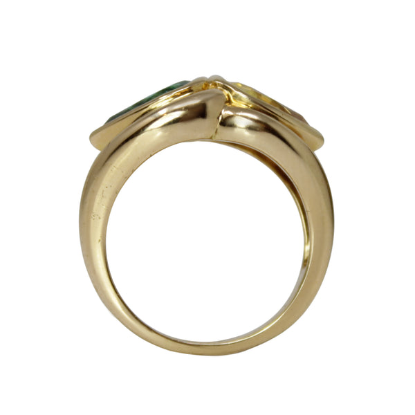 Eyes of Protection and Strength - 18k Yellow Gold Green Tourmaline and Yellow Citrine Ring