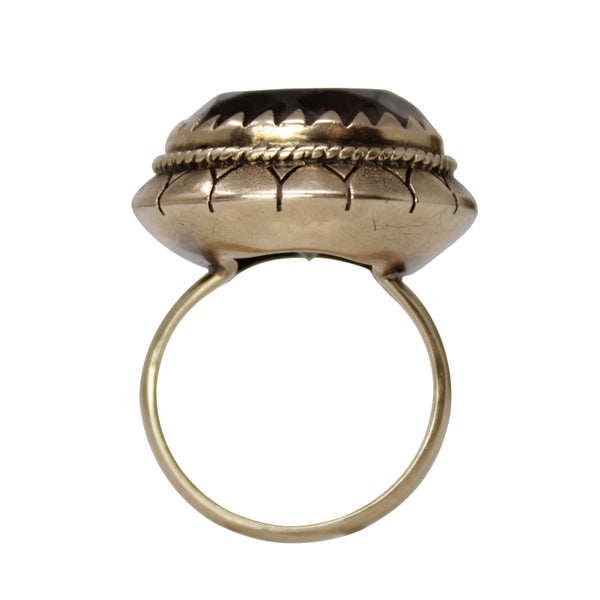 Gypsy Soul Ring - 14k Yellow Gold 1920s Smoky Quartz Vintage