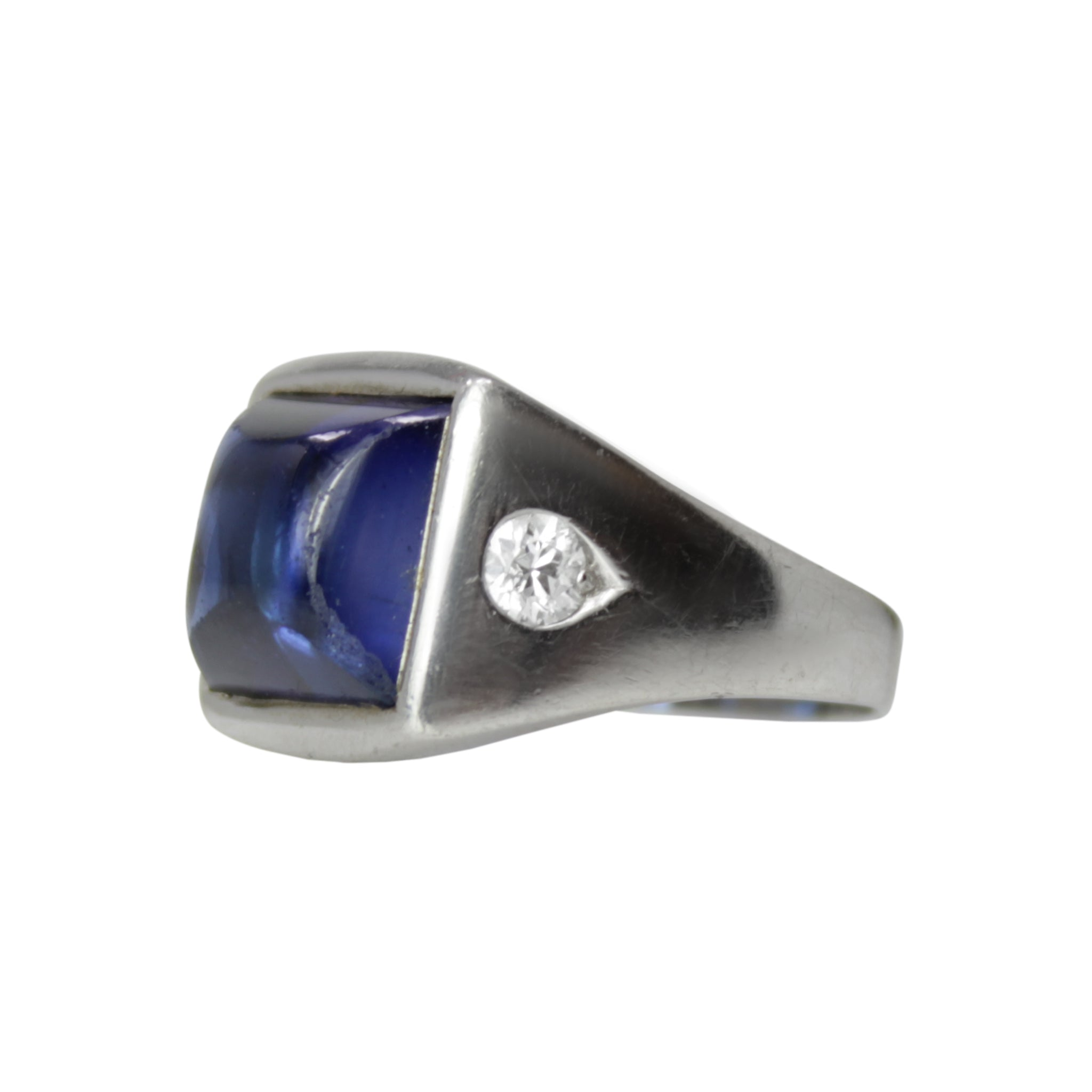 A Man Of Distinction - Cabochon Sapphire and Diamond Platinum Ring